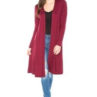 Womens Open Front Long Cardigan Duster, Red,  S/M/L