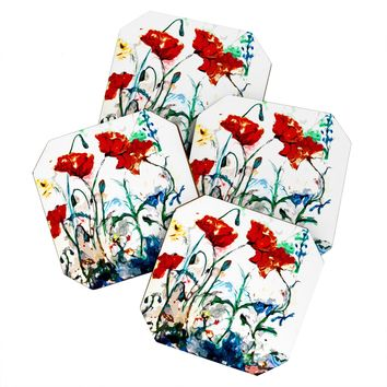 Ginette Fine Art Poppies In Light Coaster Set