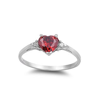 925 Sterling Silver CZ Heart Simulated Ruby Ring 7MM