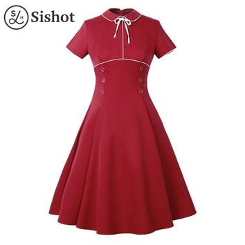 vintage dresses summer burgundy short sleeve cute peter pan collar lace up a line button retro dress