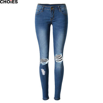 2016 Blue Low Waist Knee Dipped Skinny Plain Cut Out Front Silm Jeans 2016 Spring Fashion Brand New Designer Long Pant