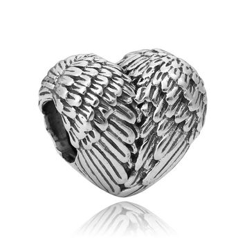European Feather Heart Bead Spacers Angelic Style for Snake Chains and Biagi Pandora Style Bracelets