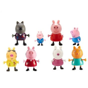 Peppa pig George  Family friend Plastic PVC doll Pack Dad Mom Action Figure Anime Toys Boy girl gift set