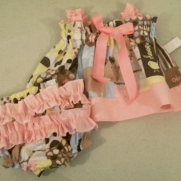 Baby Girls Dress Swing Dress-Animals with pink-Baby Shower Gift-#184