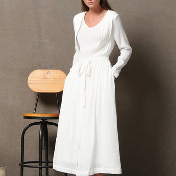 White linen Maxi Dress With Pockets  C604