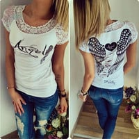 Lace Collar Hollow Angel Wings Printed T-Shirt in White or Black