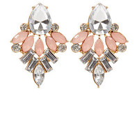 Pink Contrast Crystal Diamante Stud Earrings