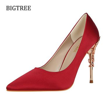Size34-39 Women Shoes Red High Heel Classics Pumps Female Silk Dress Wedding Sexy Part