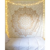 Stylo Culture Silver Mandala Tapestry Queen Cotton Printed Wall Hanging Indian Bedding Decor