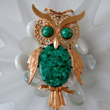 Vintage Owl Necklace Articulated Faux Green Gemstone Gold Tone