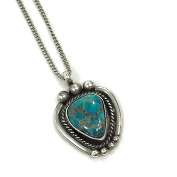 Navajo Sterling Turquoise Pendant Necklace, Roped & Beaded Sterling, Native American Necklace, Southwestern Jewelry, Vintage Jewelry