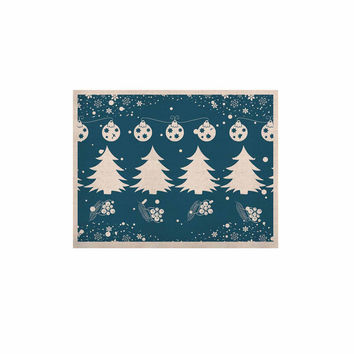 """Famenxt """"Merry Merry Christmas"""" Blue White Holiday Illustration KESS Naturals Canvas (Frame not Included)"""