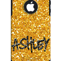 OTTERBOX COMMUTER iPhone 5 5S 5C 4/4S Case Custom Gold Glitter Bling Background Personalized Monogram