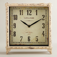 Ivory Square Retro Tilly Tabletop Clock - World Market
