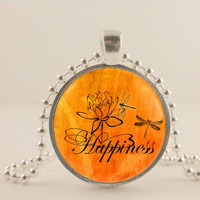 "Happiness, dragonfly, orange, 1"" glass and metal Pendant necklace Jewelry."