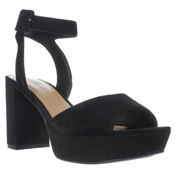 Marc Fisher Meliza Platform Ankle Strap Sandals, Black Suede, 9 US