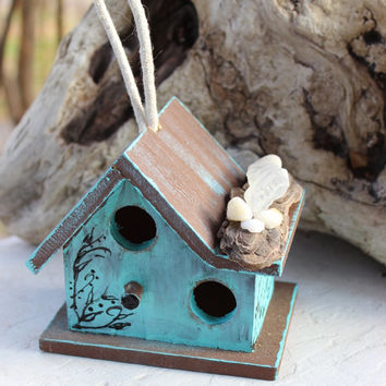 Sea Cottage Mini Birdhouse , Coastal Chic Decoration With Natural Driftwood and Seaglass , Hanging Bird House
