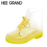 HEE GRAND 2017 New Women Rainboots Transparent Waterproof Boot Colorful Autumn Rubber Shoes Rainboot Woman Ankle Boots XWX195