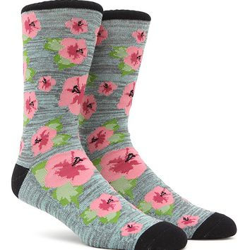 On The Byas Floral Paradise Crew Socks - Mens Socks - Green - One