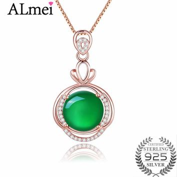 Almei 6ct Green Rose Gold Color Bottom Chalcedony Rhinestone Necklaces Real Silver 925 Fine Jewelry for Women with Box 40% FN083