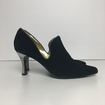 Authentic 90s Vintage Beltrami women's heeled velvet loafers sz 9