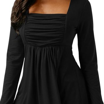 Chicloth Black Square Neckline Ruched Long Sleeve Blouse