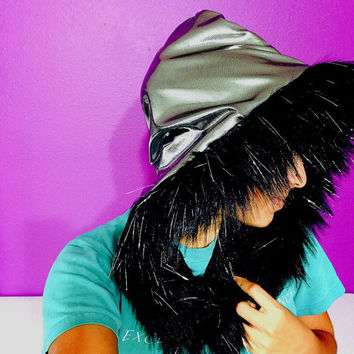 Reversible hood silver and black woth fur / EDC / festival season / rave / EDM / winter