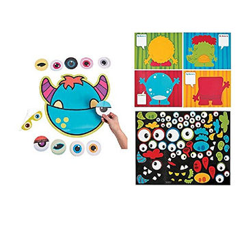 Pin the Eye on the MONSTER Party Game & 12 LARGE Make a Monster Sticker Sheets - PARTY Favors HALLOWEEN - Daycare CLASSROOMS Activity Craft