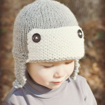 Boys Chunky Knit Trapper Aviator Hat Grey with Cream Age 1T to 2T
