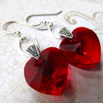 Ruby Red Heart Earrings Gothic Earrings Art Deco Earrings Silver Earrings Garnet Earrings Red Earrings Crystal Heart Earrings- All My Heart