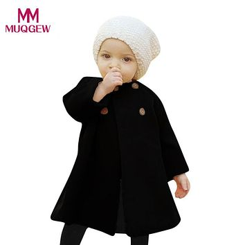 high quality Autumn Winter Girls Kids Baby Outwear Cloak Button Jacket Warm Coat Clothes Long sleeve baby Clothes Kids Clothes