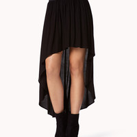 Shirred High-Low Skirt