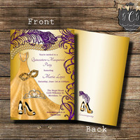 Purple and Gold Quinceanera Invitation,Sweet 16 Invitation,Quinceanera invites,Quinceanera invitación printable,Bling Invitation,Heel invite