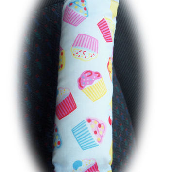 seatbelt pads cupcake covers cute cotton cupcakes pads car 1 pair pastel colors fairy cakes girly girl pink blue yellow pretty