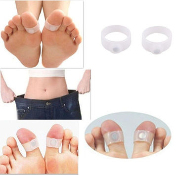 [flash 2 PCS Slimming Health Silicone Magnetic Foot Massager Relax Toe Ring for Weight Loss = 5988044225