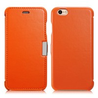 iPhone 6s / 6 Case, Benuo [Luxury Series] [Slim Style] Genuine Leather Folio Flip Corrected Grain Leather Case with Magnetic Closure for iPhone 6 / iPhone 6s 4.7 inch (Orange)