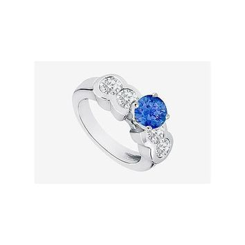 Sapphire Engagement Ring in 14K White Gold 3.20 Carat TGW. Channel set Cubic Zirconia