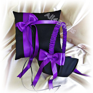 Regency purple and black wedding ring bearer pillow and flower girl basket, satin ring cushion and basket set.