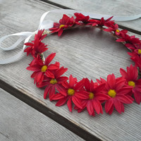 Harvest festival Crown, Daisy Crown, Flower Headband, Red, Daisies, Coachella , Hippie Headband, Daisy headband, renaissance