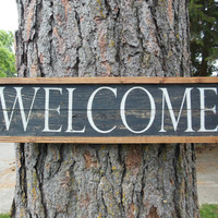 """Joyful Island Creations """"Welcome"""" wood framed sign/ distressed welcome sign"""