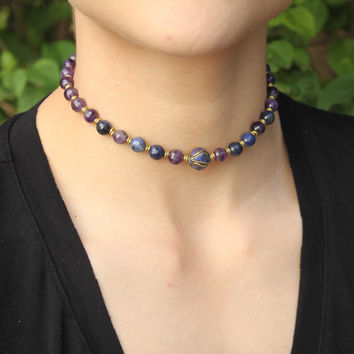 Amethyst and Sodalite 'Peace and Healing' Mala Choker