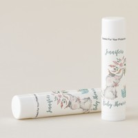 Cute Boho Elephant Feathers Flowers Baby Shower Lip Balm