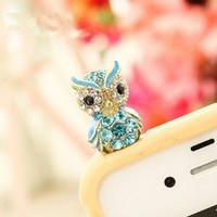 Wisedeal crystal Decorated Owl Design Headphone Jack Anti-Dust Plug for iPhone 4 4s 3Gs iPod Touch(Blue)