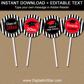 2016 Graduation Cupcake Toppers - Graduation Party Decorations - High School Graduation Party Ideas - Printable Graduation Cupcake Picks