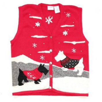 Shop Now! Ugly Sweaters: Scottie Dog Westie Tacky Ugly Christmas Sweater Vest Women's Size Medium/Large (M/L) $22 - The Ugly Sweater Shop
