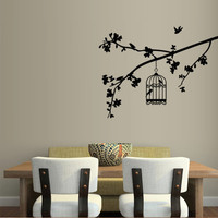 Wall decal decor decals art sticker birdcage cage bird tree branch nature room (m393)