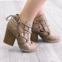 Spring Back Taupe Open Toe Heels