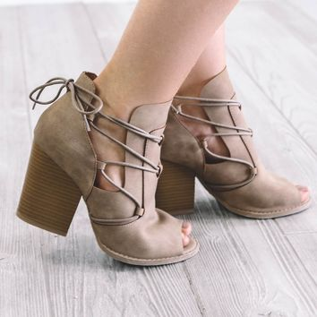 Spring Back Taupe Open Peep Toe Heels