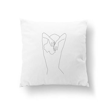Woman Shoulders Pillow, Black And White, Line Drawing, Cushion Cover, Home Decor, Woman Illustration, Bed Pillow, Throw Pillow, Woman Figure