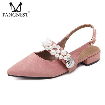 Tangnest Fashion Pointed Toe Mules Shoes Elegant Pearl Buckle Strap Pumps Summer Slingbacks Suede Leather Low Heels Shoe XWD5792